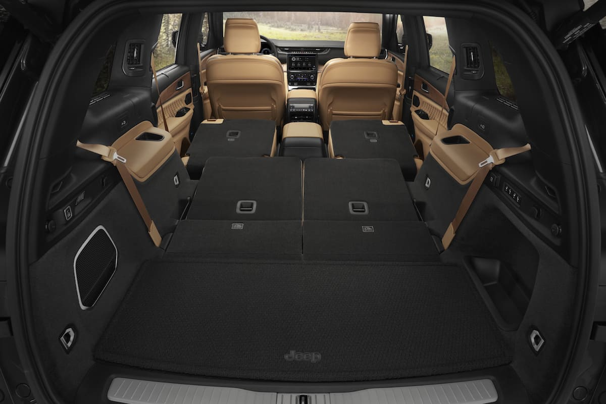 The all-new 2021 Jeep® Grand Cherokee L Summit Reserve rear interior cargo space (84.6 cu. ft. with second and third rows folded flat).