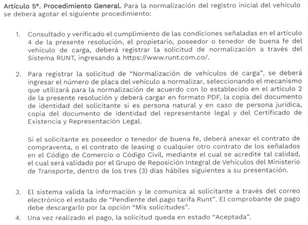 Registro resolución