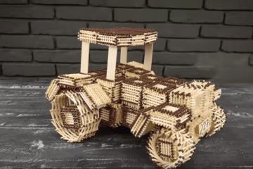 tracteur en allumettes