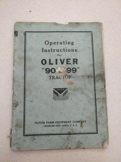 Oliver 90 99 tractor operator's instruction manual