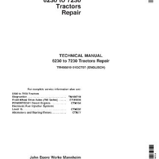 JD 6230 to 7230 technical repair manual