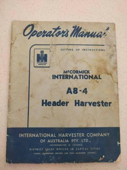 mccormick international header harvester a8-4 operator's manual