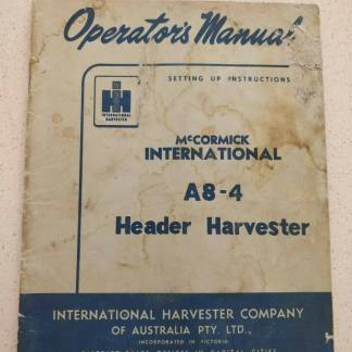 mccormick international header harvester a8-4 operator's manual