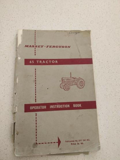 massey ferguson 65 tractor operator instruction book