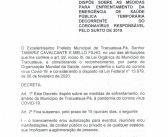 A Prefeitura Municipal de Tracuateua torna público o DECRETO Nº 033/2020