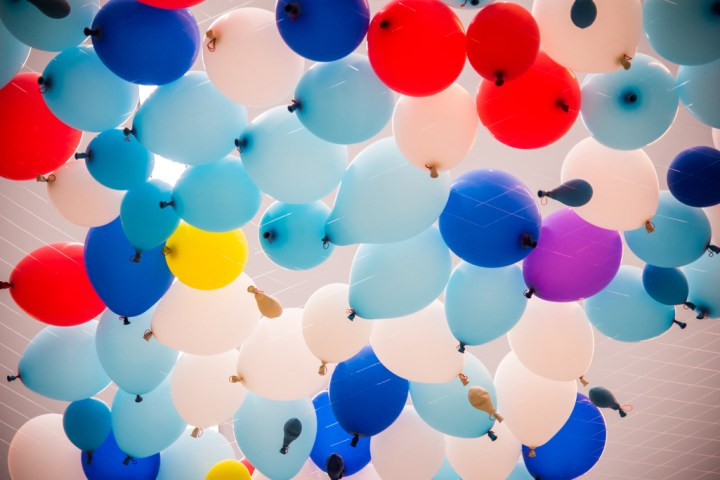 Colorful balloons with happy celebration