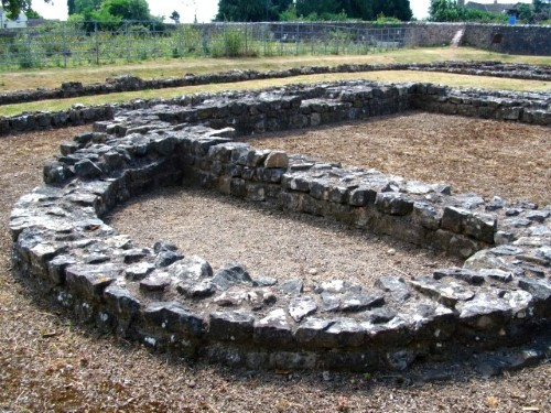 The excavated temple reveals a rare Roman curve