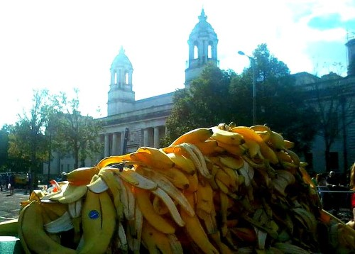 After the Cardiff Half Marathon... no runners just banana skins