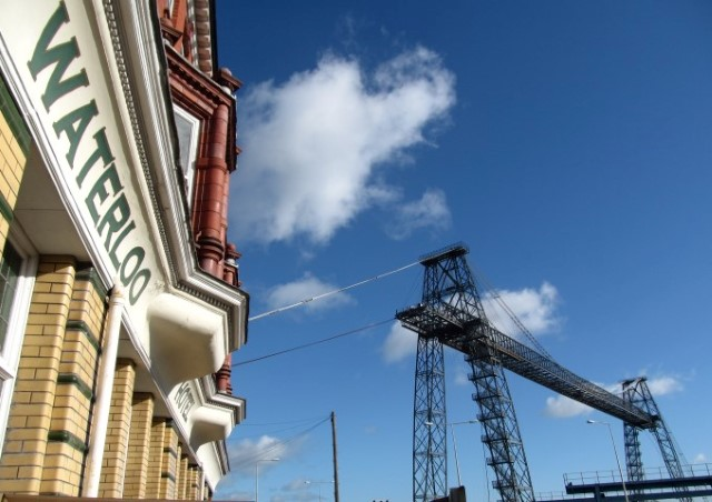 The Grade II listed Waterloo Hotel in the shadow of Newport Transporter Bridge