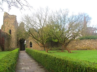 The peaceful walled garden of Bishop's Palace