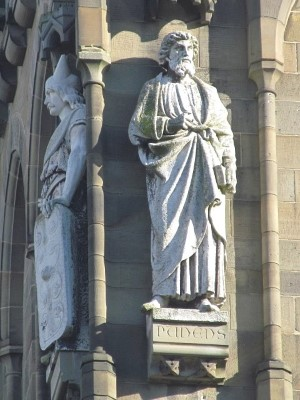Intricately carved figures on Cardiff Castle