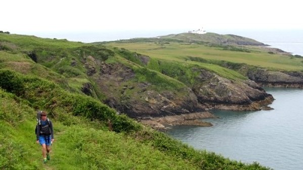 Walking on the the Anglesey clifftops near the Point Lynas lighthouse