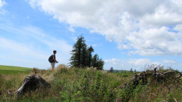 Harri Garrod Roberts walking the Rhymney Valley Ridgeway Walk above Llanbradach, Caerphilly, South East Wales