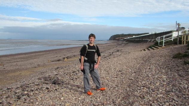 Harri Garrod Roberts, outdoor writer, at Blue Anchor, Somerset, UK
