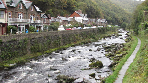 The East Lyn river flowing into Lynmouth, Exmoor National Park, Devon
