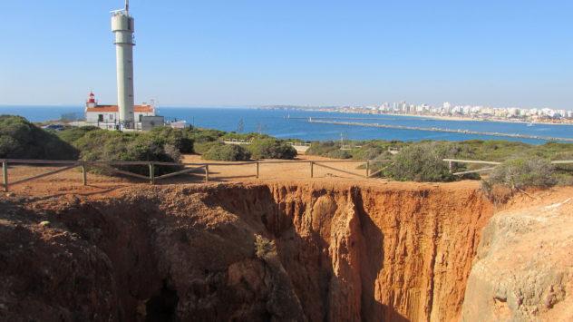 Red sandstone cliff erosion, Algarve, Portugal