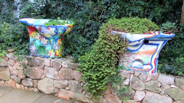 toilet planters, Hotel Burgau, Burgau, Western Algarve, Portugal