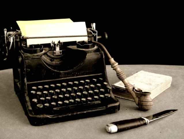 Typewriter, Knife, Book