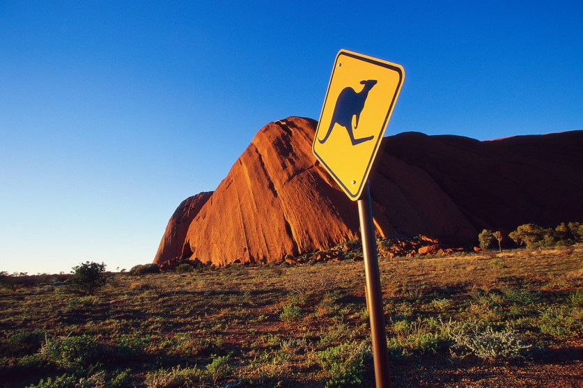 Kangaroo Crossing Sign at Olga Rocks