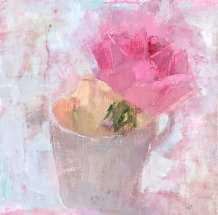 oil painting of pink rose in white teacup