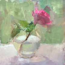 oil painting of magenta rose in round clear glass vase