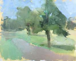 oil painting of green tree
