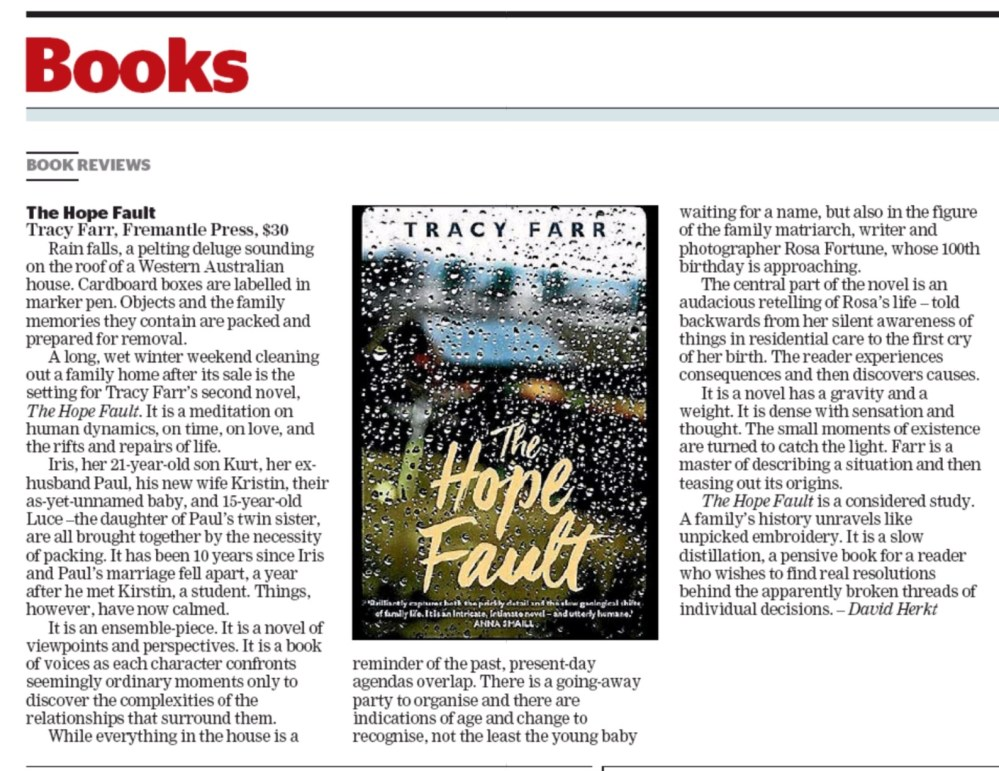 THE HOPE FAULT review Fairfax Regional (NZ) 18 March 2017