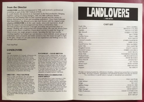 Landlovers programme (intro and cast list)