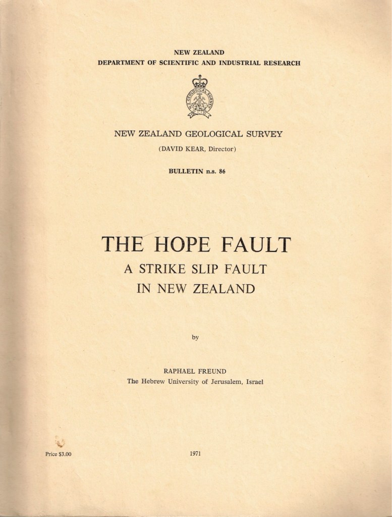 The Hope Fault NZGS Bulletin 1971