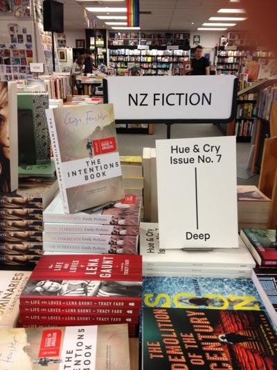 Lena Gaunt on the NZ Fiction table at Unity Books, Wellington
