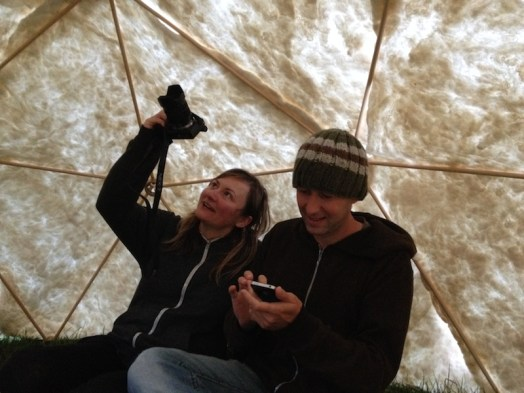 Lydia and Vlad document their felt shelter from the inside.