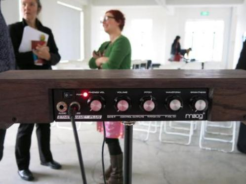 Theremin, getting ready for the session. Photo: @ChristchurchLib via Twitter.