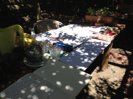 Sun-dappled, spreading out, making sense: notes, timelines.