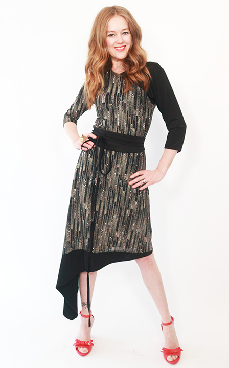 Tracy Gold collection asymmetrical shimmer dress