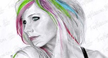 Avril Lavigne, Graphite & Pastel on Paper, 11x6 in, 2012