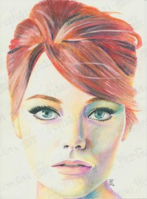 Emma Stone, Watercolor Pencil on Paper, 8.5x10.5 in, 2012