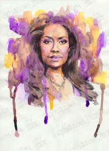 Gina Torres as Jessica Pearson, Watercolor & Ink on Paper, 9x12 in, 2014