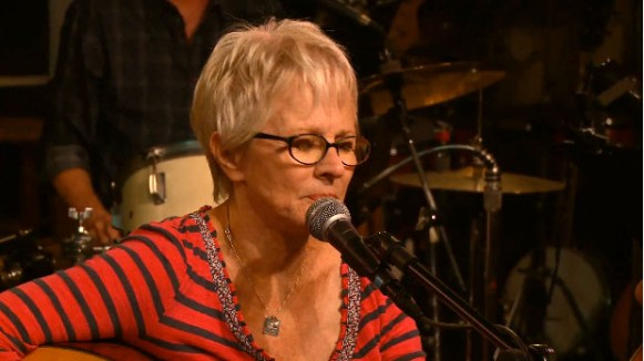 video still from webcast on Concert Window of Tracy Newman and The Reinforcements at Kulak's Woodshed - 8 august 2015