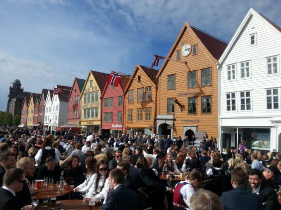 Norway - Bryggen in Bergen on Norways national day