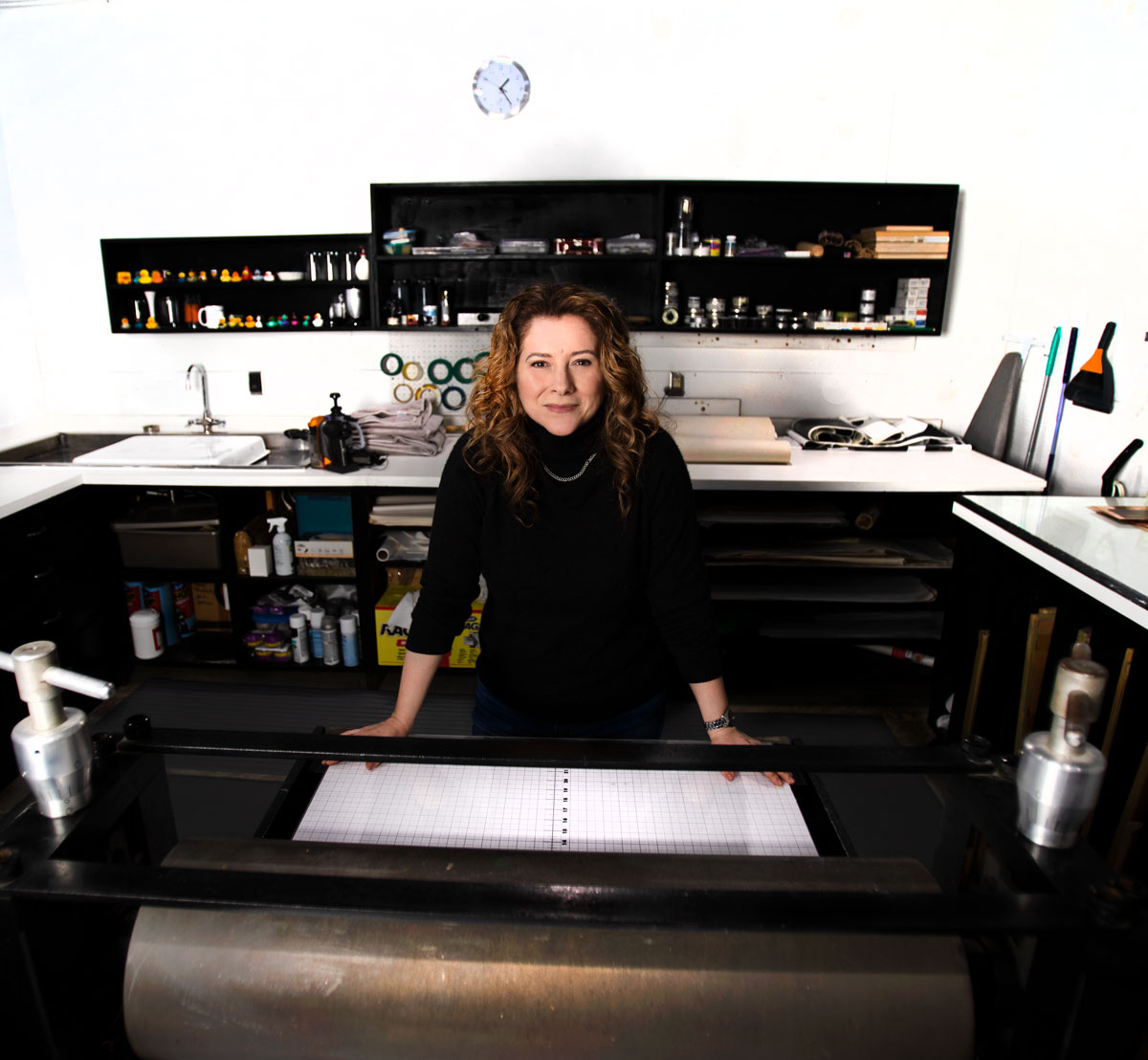 Tracy Templeton in Studio with Printing Press
