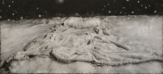 "Tracy Templeton Exhibitions (Quietly in Snow (2016, 22x42"", Digital Etching Monotype))"