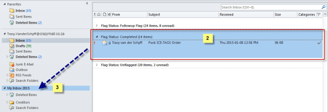 Select and drag mails to PST