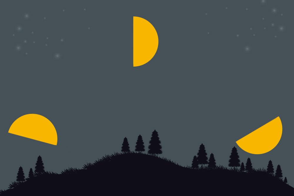 上弦の月の月出・正中・月没