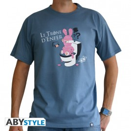 "LAPINS CRETINS - Tshirt ""Throne"" uomo SS stone blue - basic"