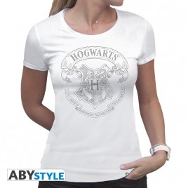 "HARRY POTTER - Tshirt ""Hogwarts"" donna SS bianca - basic"