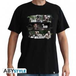 "THE WALKING DEAD - Maglietta ""Good, Bad, Walkers"" uomo nero SS - nuova vestibilità"