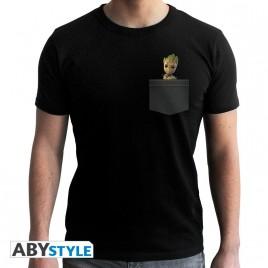 "MARVEL - Tshirt ""Pocket Groot"" uomo SS nero - nuova vestibilità"