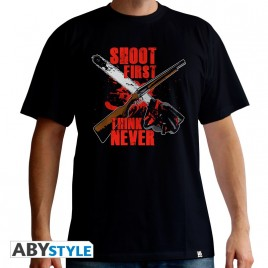 "ASH VS EVIL DEAD - Tshirt ""Shoot First"" uomo SS nero - basic"