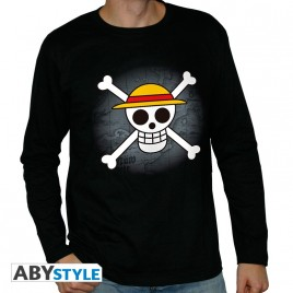"ONE PIECE - Tshirt ""Skull with map"" uomo LS nero"