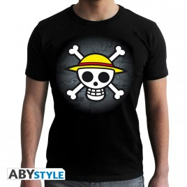 "ONE PIECE - Tshirt ""Skull with map"" uomo SS nero - basic"